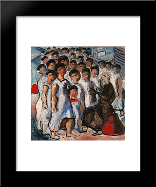 Catechesis: Modern Black Framed Art Print by Candido Portinari