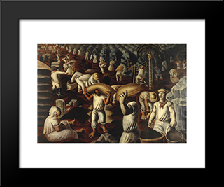 Colhedores De Cafe: Modern Black Framed Art Print by Candido Portinari