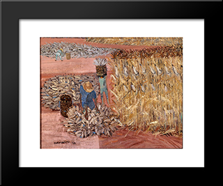 Corn Harvest: Modern Black Framed Art Print by Candido Portinari