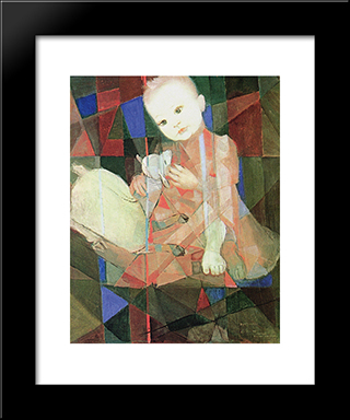 Denise Com Carneiro Branco: Modern Black Framed Art Print by Candido Portinari