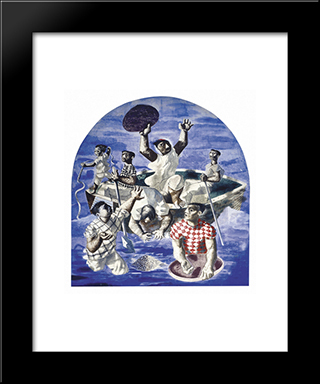 Discovery Of Gold: Modern Black Framed Art Print by Candido Portinari