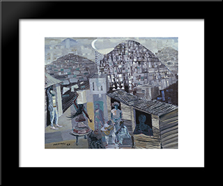 Favelas: Modern Black Framed Art Print by Candido Portinari