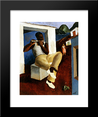 Flautista: Modern Black Framed Art Print by Candido Portinari