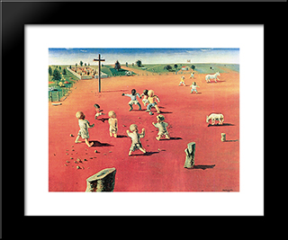 Futebol: Modern Black Framed Art Print by Candido Portinari