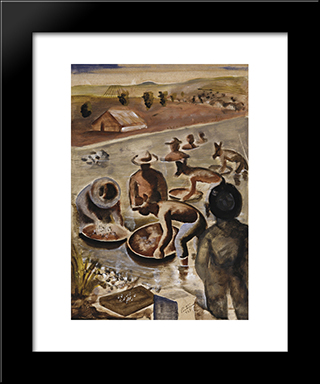 Garimpeiros No Rio: Modern Black Framed Art Print by Candido Portinari
