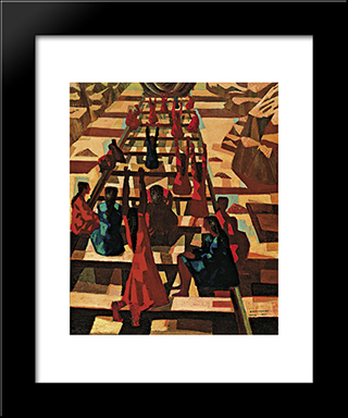 Greve: Modern Black Framed Art Print by Candido Portinari
