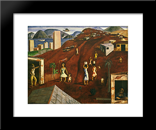 Hill: Modern Black Framed Art Print by Candido Portinari
