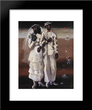 Marriage On The Farm: Modern Black Framed Art Print by Candido Portinari