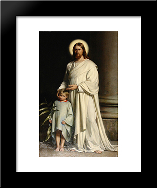 Christ And Child: Modern Black Framed Art Print by Carl Bloch