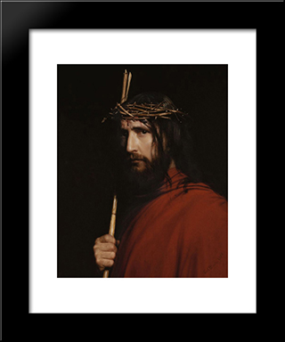 Christ With Thorns: Modern Black Framed Art Print by Carl Bloch