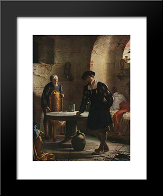 Christian Ii Imprisoned In The Tower At Sonderborg Castle: Modern Black Framed Art Print by Carl Bloch