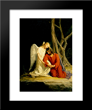 Gethsemane: Modern Black Framed Art Print by Carl Bloch