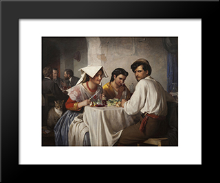 In A Roman Osteria: Modern Black Framed Art Print by Carl Bloch