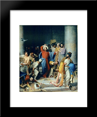 Jesus Casting Out The Money Changers At The Temple: Modern Black Framed Art Print by Carl Bloch