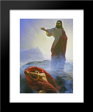Jesus Tempted: Modern Black Framed Art Print by Carl Bloch