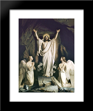 Resurrection Of Christ: Modern Black Framed Art Print by Carl Bloch