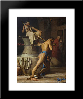 Samson And The Philistines (Samson In The Threadmill): Modern Black Framed Art Print by Carl Bloch