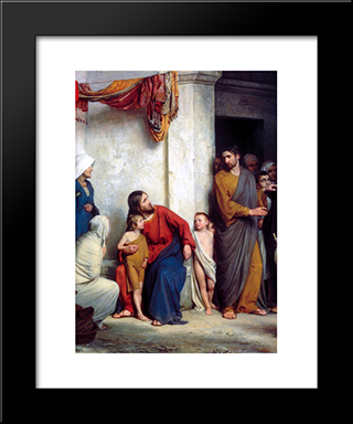 Suffer The Children: Modern Black Framed Art Print by Carl Bloch