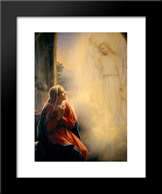 The Annunciation: Modern Black Framed Art Print by Carl Bloch