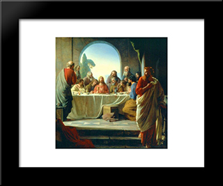 The Last Supper: Modern Black Framed Art Print by Carl Bloch