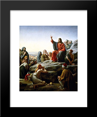 The Sermon On The Mount: Modern Black Framed Art Print by Carl Bloch