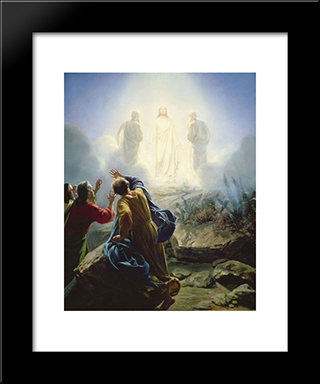 Transfiguration Of Jesus: Modern Black Framed Art Print by Carl Bloch