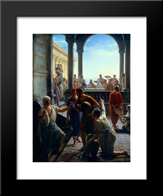 Wedding At Cana: Modern Black Framed Art Print by Carl Bloch