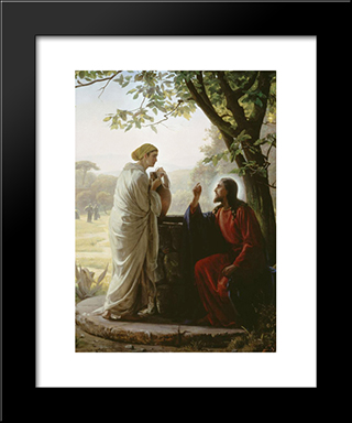 Woman At The Well: Modern Black Framed Art Print by Carl Bloch