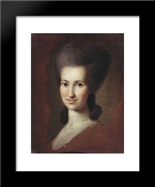 Portrait Of A Woman: Modern Black Framed Art Print by Carl Ludwig Johann Christineck