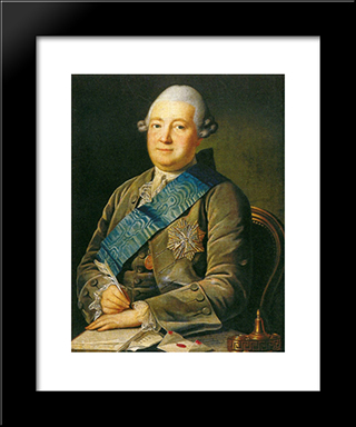 Portrait Of Adam Vasilevich Olsufyev: Modern Black Framed Art Print by Carl Ludwig Johann Christineck