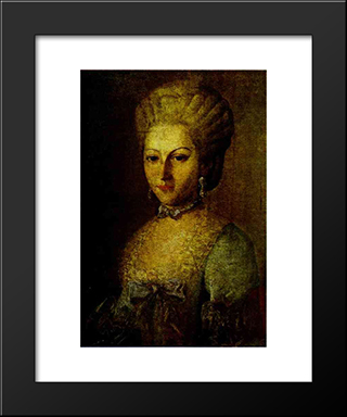 Portrait Of Agrafena Ribeaupierre: Modern Black Framed Art Print by Carl Ludwig Johann Christineck
