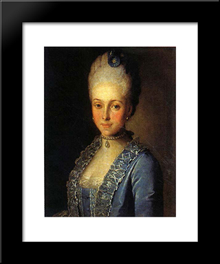 Portrait Of Alexandra Perfilyeva, Nee Countess Tolstaya: Modern Black Framed Art Print by Carl Ludwig Johann Christineck