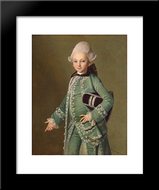Portrait Of Alexey Bobrinsky As A Child: Modern Black Framed Art Print by Carl Ludwig Johann Christineck