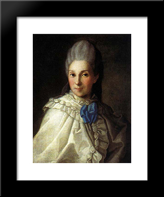 Portrait Of Daria Aleksandrovna Troubetskaya: Modern Black Framed Art Print by Carl Ludwig Johann Christineck