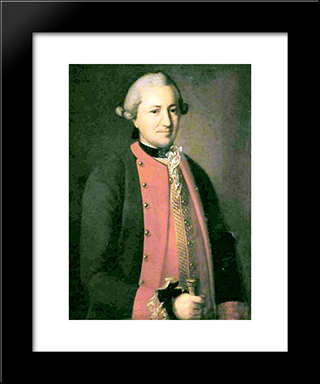 Portrait Of Major Of Army Corps: Modern Black Framed Art Print by Carl Ludwig Johann Christineck