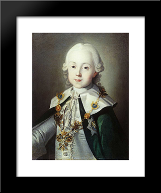 Portrait Of Paul Of Russia Dressed As Chevalier Of The Order Of St. Andrew: Modern Black Framed Art Print by Carl Ludwig Johann Christineck