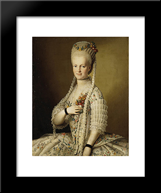 Portrait Of Sarah Cook: Modern Black Framed Art Print by Carl Ludwig Johann Christineck
