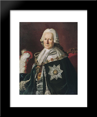Portrait Of Semen Ivanovich Mordvinov As Chevalier Of The Order Of St. Andrew: Modern Black Framed Art Print by Carl Ludwig Johann Christineck