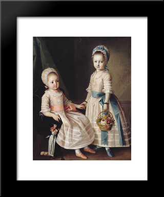 Portrait Of Two Sisters: Modern Black Framed Art Print by Carl Ludwig Johann Christineck
