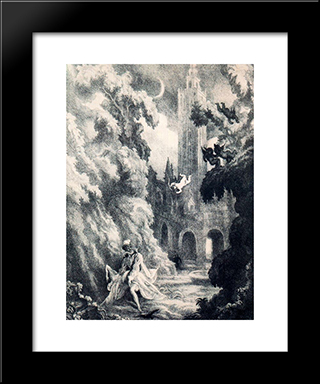 Don Juan Tenorio. The Abduction Of Dona Ines: Modern Black Framed Art Print by Carlos Saenz de Tejada