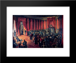 Founding Act Of The Municipal Savings Bank Of Vitoria In 1850: Modern Black Framed Art Print by Carlos Saenz de Tejada