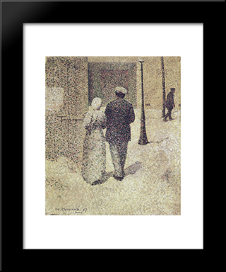 Couple In The Street: Modern Black Framed Art Print by Charles Angrand
