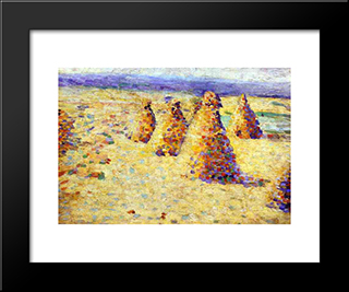 Hay Ricks In Normandy: Modern Black Framed Art Print by Charles Angrand