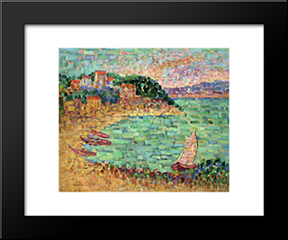 Le Petit Port: Modern Black Framed Art Print by Charles Angrand