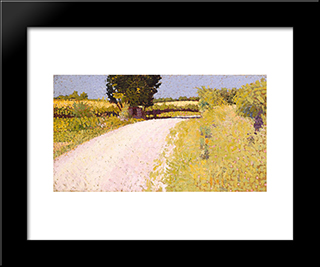 Path In The Country: Modern Black Framed Art Print by Charles Angrand