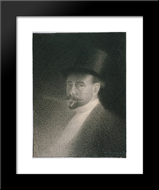 Self-Portrait: Modern Black Framed Art Print by Charles Angrand