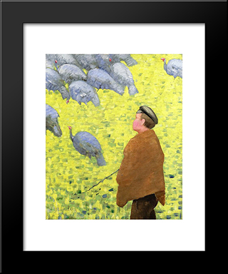 The Guardian Of Turkeys: Modern Black Framed Art Print by Charles Angrand