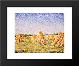 The Harvest: Modern Black Framed Art Print by Charles Angrand