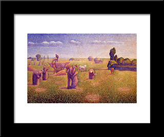 The Harvesters: Modern Black Framed Art Print by Charles Angrand