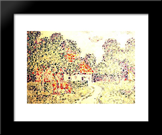The Little Farm: Modern Black Framed Art Print by Charles Angrand